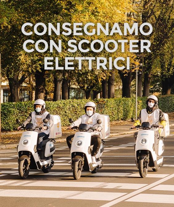 Pizzeria consegna a domicilio con scooter elettrici a Milano